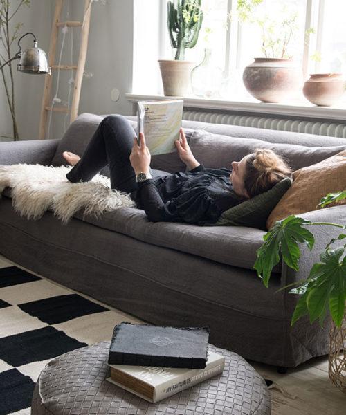 Lammfell hyggelig Sofa Wohnzimmer
