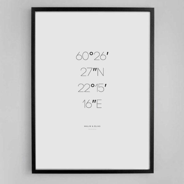 personalisierte Koordinaten Poster A2 MALIN minimalistisch Nordic Butik